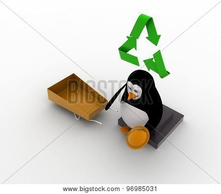 3D Penguin With Recycle Symbol And Wheel Borrow Concept