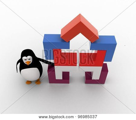3D Penguin With Structure Made Of Rectangular Corners Concept