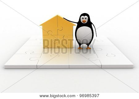 3D Penguin With Home Icon Made Of Golden Puzzle Pieces Concept