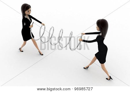 3D Two Women Fighting For Spring And Pulling It Concept