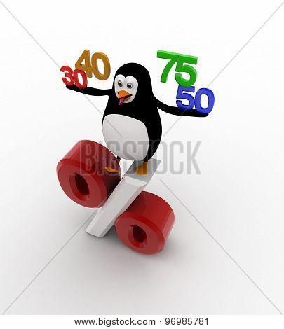 3D Penguin With 30 40 50 75 Percentage Symbol Concept