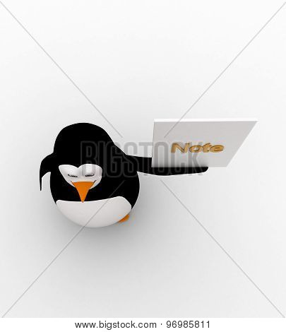 3D Penguin Holding Note Paper In Hand Concept