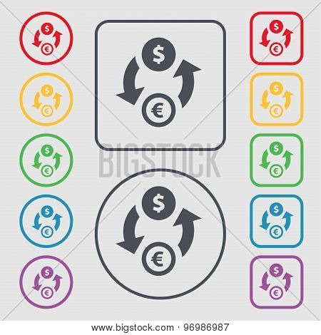 Currency Exchange Icon Sign. Symbol On The Round And Square Buttons With Frame. Vector