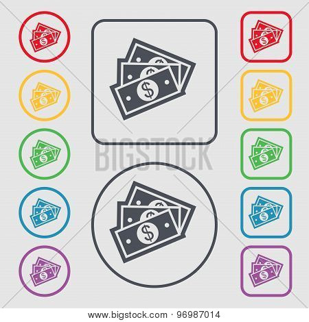 U.s Dollar Icon Sign. Symbol On The Round And Square Buttons With Frame. Vector