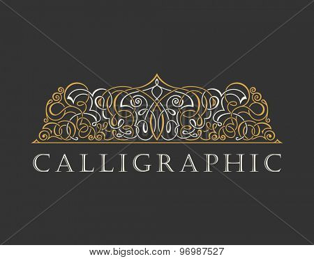 Calligraphic Luxury logo. Emblem ornate decor elements. Vintage vector symbol ornament