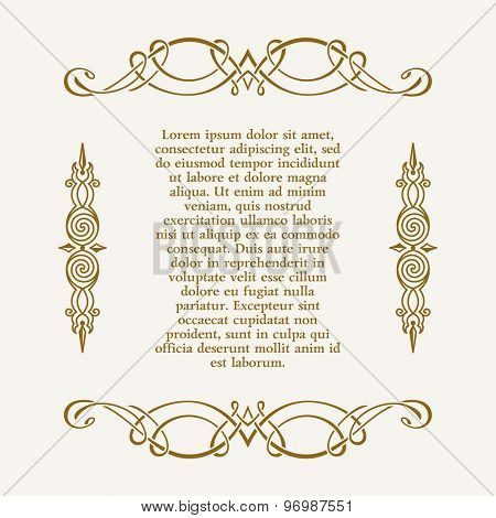 Calligraphic ornament and page decoration. Vector vintage illustration frame for text