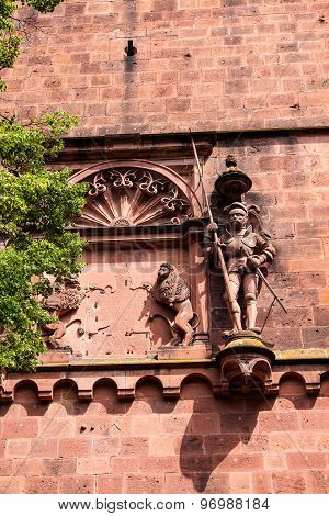 Antique Sculpture Of A Knight And A Wall Fragment Of Heidelberg Castle