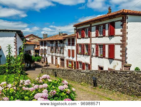 Traditional Basque houses in Saint-Jean-Pied-de-Port