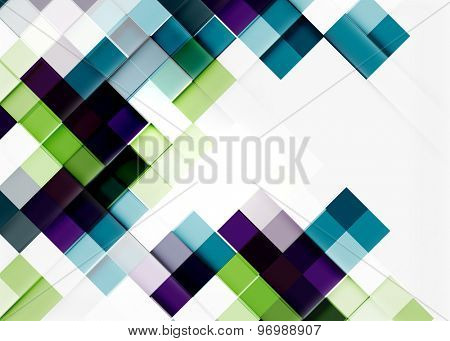 Square shape mosaic pattern design. Universal modern composition. Clean colorful mosaic tile background with copyspace. Abstract background, online presentation website element or mobile app cover