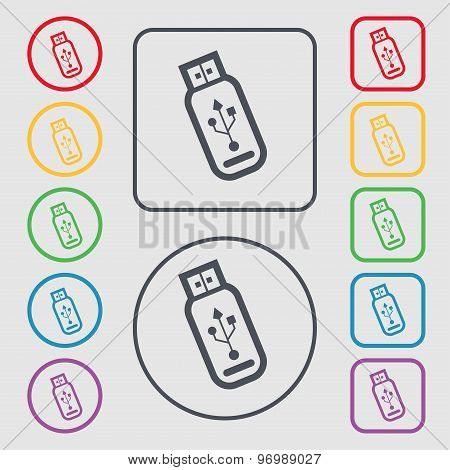 Usb Flash Drive Icon Sign. Symbol On The Round And Square Buttons With Frame. Vector