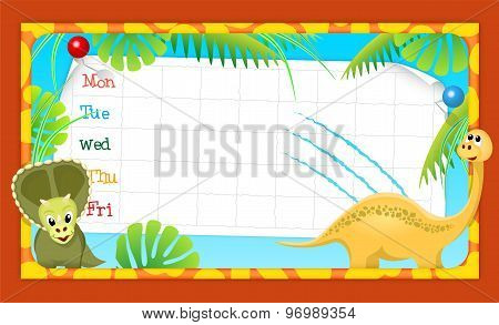 School Timetable With Merry Dinosaurs, Illustration