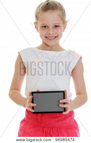 Girl holding a gray card