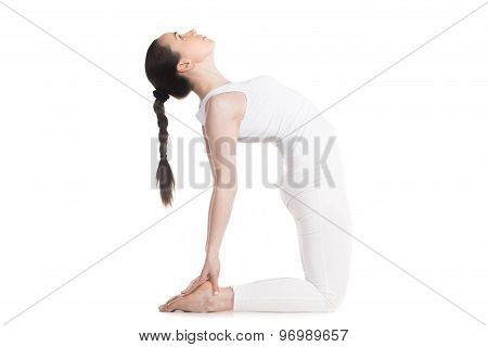 Yogi Female Doing Ustrasana Pose