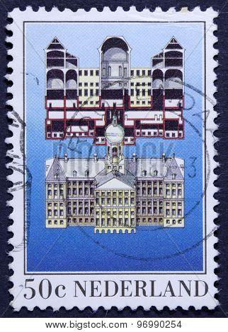 Vintage postage stamp , isolated on black