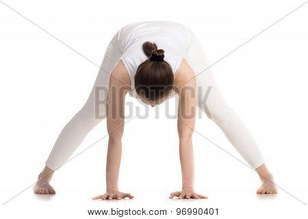 Yogi Female Doing Prasarita Padottanasana Pose