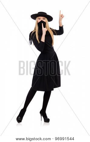 Woman in long black dress isolated on white