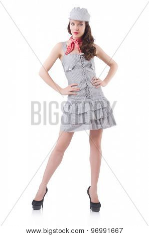 Young woman in gray striped dress isolated on white