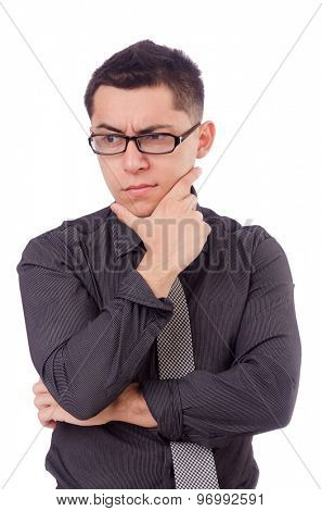 Young thinking man isolated on white