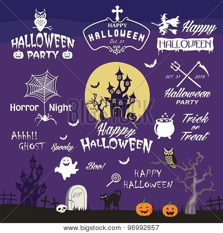 Happy Halloween design elements. Halloween decorative elements, logos, badges, labels, icons and objects collection.