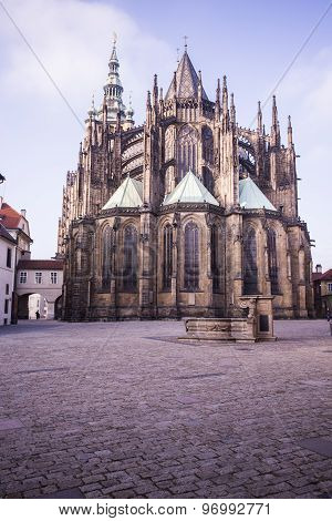 Rear view of the St. Vitus cathedral in Prague Castle in Prague Czech Republic