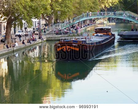 Canal boat, Paris, France