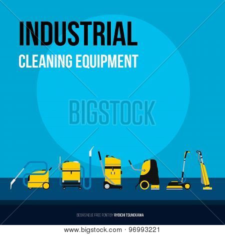 Set of Industrial equipment for cleaning companies. Flat style vector icons.