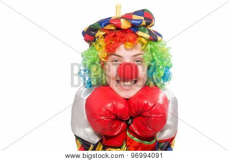 Clown with boxing gloves isolated on white