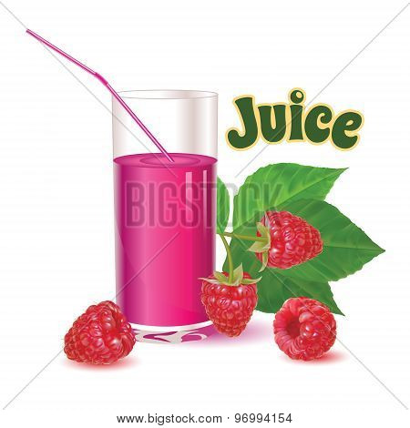 glass with juice and straw, branch with leaves and ripe fresh berry raspberries