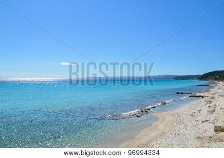 Superb Turquoise Transparent Mediterranean Sea And White Sand Beach