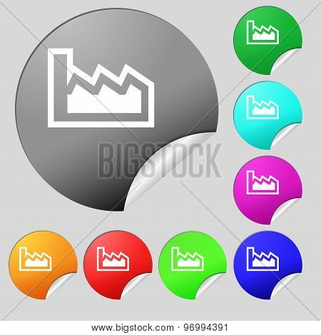 Chart Icon Sign. Set Of Eight Multi Colored Round Buttons, Stickers. Vector
