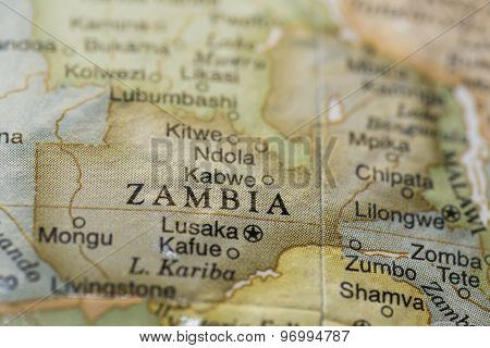 Macro of Zambia on a globe