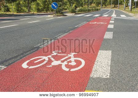 Bicycle path drawn on the asphalt road. Lanes for cyclists. Traffic signs and road safety.