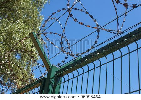 Razor Barbed wire against a blue sky, closeup