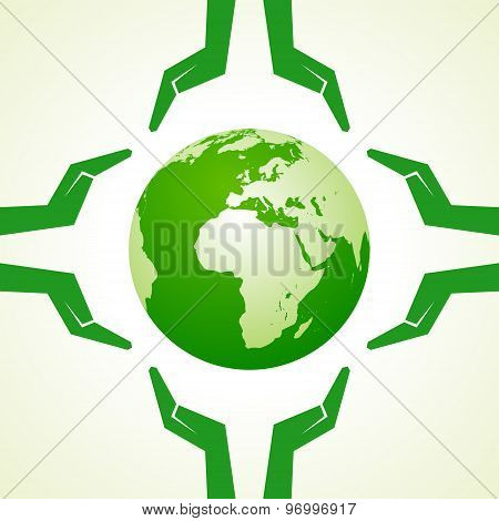 Save Nature concept with earth and hand- vector illustration