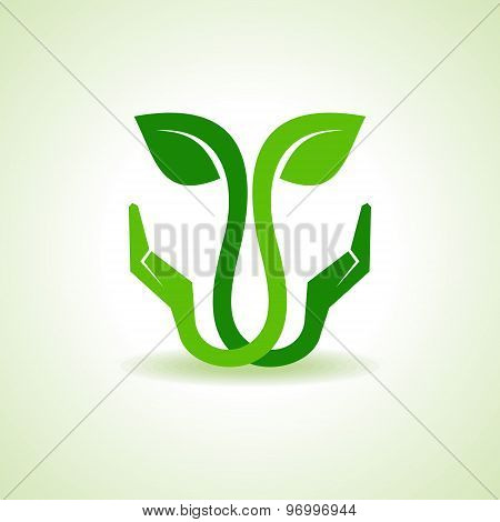 Save Nature concept with leaf - vector illustration
