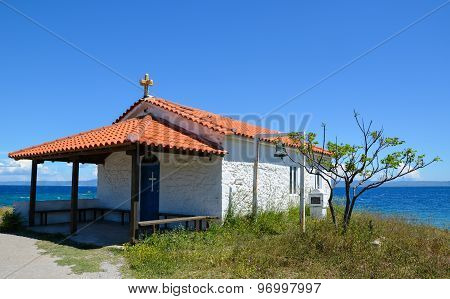 Beautiful Little Church Chapel Style With Cross And Bell Isolated On The Edge Of The Mediterranean S
