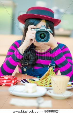 Portrait Of Hipter Beautiful Young Woman With A Camera