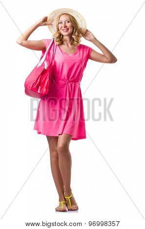 Blond girl in summer pink clothing isolated on white