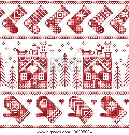 Scandinavian Nordic Christmas seamless pattern with ginger bread house, stockings, gloves, reindeer,
