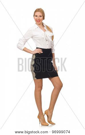 Woman in classic office clothing isolated on white