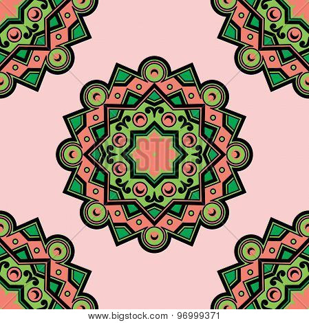 Vector Beautiful Deco Colored Mandala, Pseamless Pattern. Element, Ethnic Amulet
