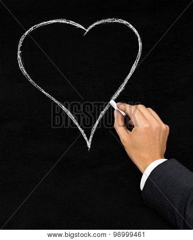 Heart Chalk Drawing On Blackboard