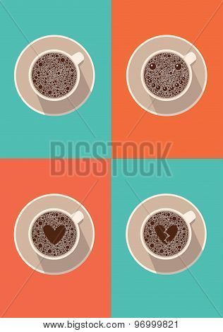 Coffee cup icon set. Vector illustration in flat design