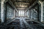 Old ruined factory building from the inside awesome background poster