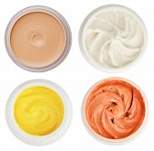 Set Of 4 Different Dermal Creams And Gels Isolated On White poster