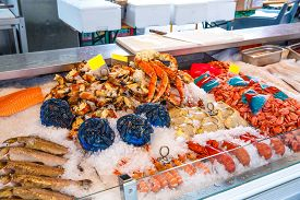pic of norway lobster  - Various seafood on the shelves of the fish market in Norway - JPG