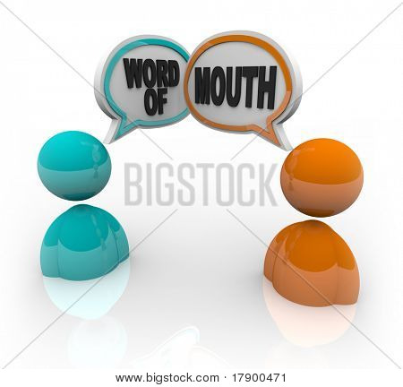 Two people with speech bubbles and the words Word of Mouth, symbolizing the spreading of rumor and gossip