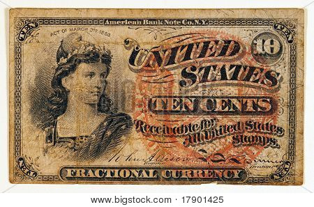 Antique Fractional Currency Note
