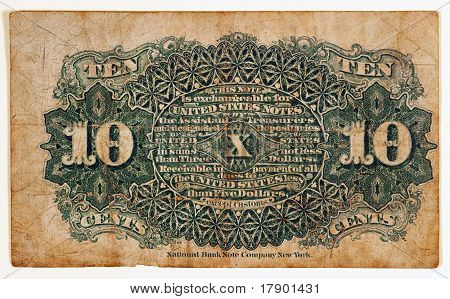 Antique Fractional Currency Note, Back