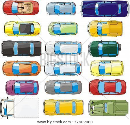 cars overhand view